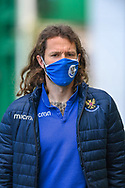 Stevie May (#14) of St Johnstone FC arrives before the SPFL Premiership match between Hibernian and St Johnstone at Easter Road Stadium, Edinburgh, Scotland on 1 May 2021.