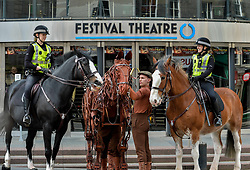Joey, the life-sized puppet horse from the hit production of War Horse, arrived outside the Festival Theatre in Edinburgh with actor Thomas Dennis, who plays Albert, where he met up with police horses Lewis and Kilmarnock, ridden by PC Kaeren Muir (left) and PC Claire Hunter (right)<br /> <br /> © Dave Johnston/ EEm