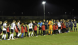 February 20, 2019 - Sheffield, United Kingdom - Sheffield, England 20th February the teams shake hands before the start of the match during the  FA Women's Championship football match between Sheffield United Women and Manchester United Women at the Olympic Legacy Stadium, on February 20th Sheffield, England. (Credit Image: © Action Foto Sport/NurPhoto via ZUMA Press)
