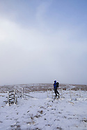 Crossing the stiles at Moel Sych.