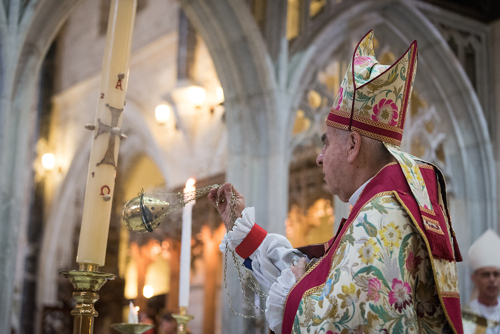 20 April 2019, Jerusalem: Archbishop the Most Reverend Suheil S. Dawani leads Easter Sunday service at the Cathedral Church of Saint George the Martyr, Jerusalem.