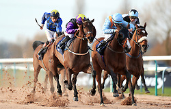 Rainbow Dreamer ridden by Hollie Doyle (second left) wins the Betway Live Casino Handicap ahead of Second Page ridden by Thore Hammer Hansen (second right) in second at Southwell Racecourse.