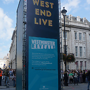 Hundreds of people queuing for the return of the WestEndLive2021 in Trafalgar Square, London, UK. on 2021-09-18, London, UK.