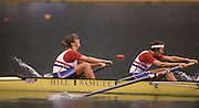 Bled, Slovenia, YUGOSLAVIA. GBR W4- left. .Bow, Fiona JOHNSTONE and Kate GROSE,  1989 World Rowing Championships, Lake Bled. [Mandatory Credit. Peter Spurrier/Intersport Images]