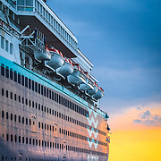 Cruise boat at dock.