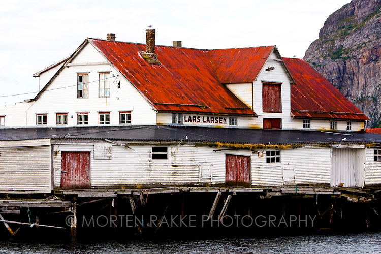 Norway, houses on river with mountain in background