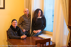 Jonathan Pite, Vasily Kostin and Ela Dutch in Vasily's apartment in the Kotelnicheskaya Embankment Building, one of the 7-sisters Stalinist structures around Moscow, Russia. Sunday April 23, 2017. Photography ©2017 Michael Lichter.