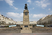 A war memorial in Regency Square in memory of the 152 soldiers of the Royal Sussex Regiment who died between 1900-1902 in the Boer War on the 19th July 2018 in Brighton in the United Kingdom.