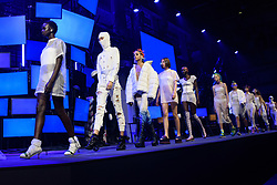 Models on the catwalk during the Nicholas Kirkwood Spring/Summer 2019 London Fashion Week show in Ambika P3, London. Picture date: Sunday September 16th, 2018. Photo credit should read: Matt Crossick/ EMPICS Entertainment.