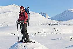 Snowshoeing in White Pass in Northern British Columbia near Whitehorse, Yukon, Canada
