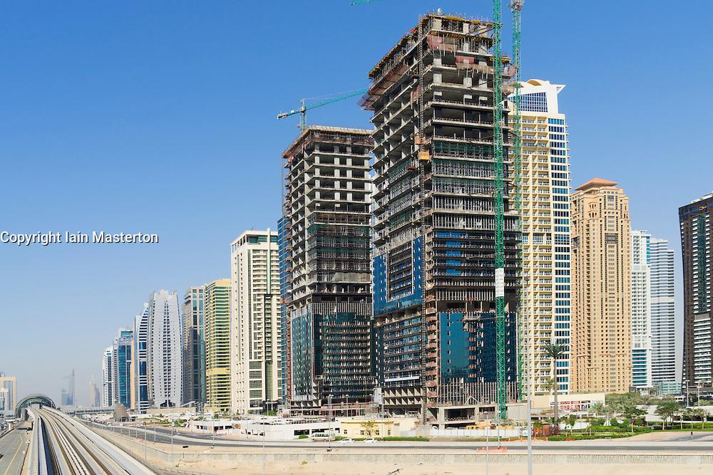 Skyline of Jumeirah Lakes Towers (JLT)  in Dubai United Arab Emirates