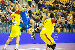 Velko Markoski of F.Y.R. Macedonia and Vid Kavticnik of Slovenia during friendly handball match between National Teams of Slovenia and F.Y.R. of Macedonia before EHF EURO 2016 in Poland on January 5, 2016 in Arena Zlatorog, Celje, Slovenia. Photo by Urban Urbanc / Sportida