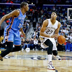 Dec 2, 2014; New Orleans, LA, USA; New Orleans Pelicans forward Anthony Davis (23) is defended by Oklahoma City Thunder forward Kevin Durant (35) during the second quarter of a game at the Smoothie King Center. Mandatory Credit: Derick E. Hingle-USA TODAY Sports