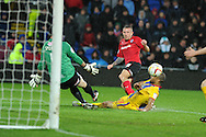 Cardiff city's Craig Bellamy has a shot at goal saved by Palace keeper Julian Speroni. NPower championship, Cardiff city v Crystal Palace at the Cardiff city stadium in Cardiff, South Wales on Boxing Day, Wed 26th Dec 2012. pic by Andrew Orchard, Andrew Orchard sports photography,