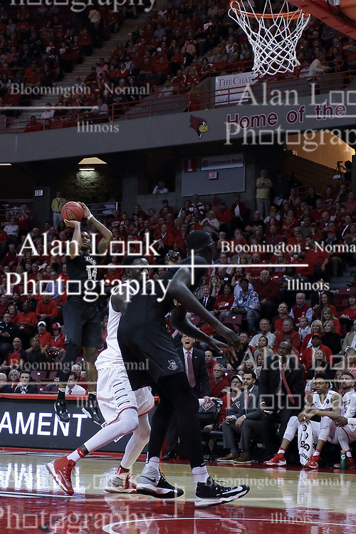 20 March 2017:  Nick Banyard shoots lone and lonely during a College NIT (National Invitational Tournament) 2nd round mens basketball game between the UCF (University of Central Florida) Knights and Illinois State Redbirds in  Redbird Arena, Normal IL