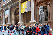 Turin, Piedmont/Italy -04/20/2019- Turin visitors queuing at the entrance to the historic Egyptian museum.