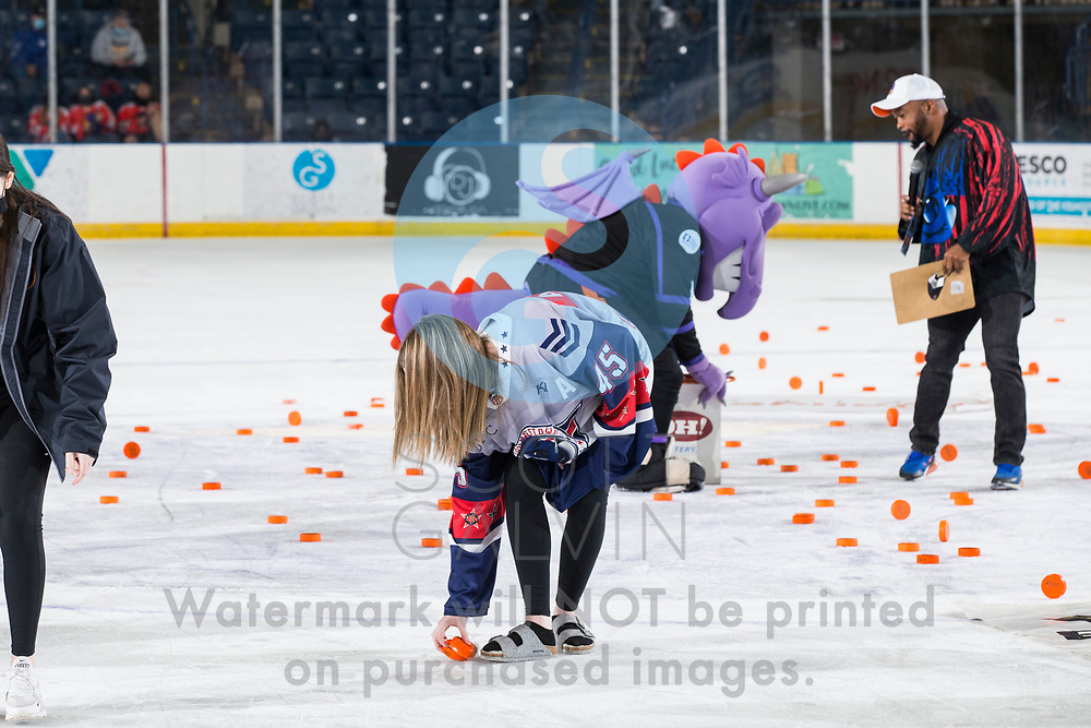 The Youngstown Phantoms lose 5-4 in overtime to the Chicago Steel at the Covelli Centre on February 20, 2021.<br /> <br /> chuck-a-puck