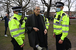 © Licensed to London News Pictures. 06/03/2021. London, UK. PIERS CORBYN attends ananti-vaccination and anti-lockdown demonstration organised by Jam For Freedom in Richmond.   The group is using music to create positive effects and health against the current tier regulations and anti-vaccination for the Covid-19 disease. Photo credit: Ray Tang/LNP