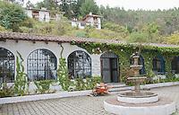 Fountain and patio at San Jorge Eco-Lodge, Quito, Ecuador