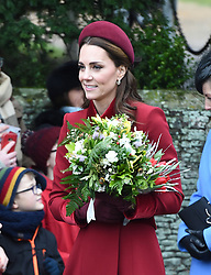 The Duchess of Cambridge arriving to attend the Christmas Day morning church service at St Mary Magdalene Church in Sandringham, Norfolk.