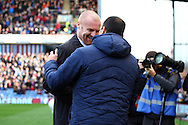 Burnley Manager Sean Dyce andd Everton Manager Roberto Martinez shake hands prior to kick off. . Barclays Premier league match, Burnley v Everton at Turf Moor in Burnley, Lancs on Sunday 26th October 2014.<br /> pic by Chris Stading, Andrew Orchard sports photography.