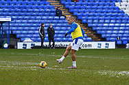 Tranmere Rovers striker James Vaughan warms up during the EFL Sky Bet League 2 match between Tranmere Rovers and Bolton Wanderers at Prenton Park, Birkenhead, England on 23 January 2021.
