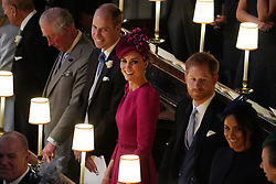 The Prince of Wales, the Duke of Cambridge, the Duchess of Cambridge, the Duke of Sussex and the Duchess of Sussex at the wedding of Princess Eugenie to Jack Brooksbank at St George's Chapel in Windsor Castle.