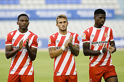 August 2, 2018 - Sabadell, Spain - 26 Yhoan Andzouana from Republica del Congo, 23 Aleix Garcia from Spain of Girona FC and 27 Kevin Soni from Camerun during the friendly game against the CE Sabadell of the 2018/2019 La Liga pre season in la Nova Creu Alta Stadium, Sabadell on 02 of August of 2018. (Credit Image: © Xavier Bonilla/NurPhoto via ZUMA Press)