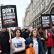 Hundreds Protest against Julian Assange Extradition Free speech is not a Crimes, on 22th Feb 2020  in London, UK