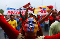 Supporters of President Hugo Chavez march in support of their president and in rejection of US intervention in Venezuela as well as a recall referendum on Chavez's rule.