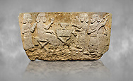 Hittite monumental relief sculpted orthostat stone panel from Water Gate Limestone, Karkamıs, (Kargamıs), Carchemish (Karkemish), 900-700 BC.  Anatolian Civilisations Museum, Ankara, Turkey.<br /> <br /> The figure sitting on a stool to the left of the table holds a goblet in his right hand which he raised upwards. Behind, there is a servant with a fan in his hand. On the other side of the table is another servant waits with a vessel in the hands. The rightmost figure plays a Saz (a stringed musical instrument) with the tassel on the handle. <br /> <br /> On a grey art background. .<br />  <br /> If you prefer to buy from our ALAMY STOCK LIBRARY page at https://www.alamy.com/portfolio/paul-williams-funkystock/hittite-art-antiquities.html  - Type  Karkamıs in LOWER SEARCH WITHIN GALLERY box. Refine search by adding background colour, place, museum etc.<br /> <br /> Visit our HITTITE PHOTO COLLECTIONS for more photos to download or buy as wall art prints https://funkystock.photoshelter.com/gallery-collection/The-Hittites-Art-Artefacts-Antiquities-Historic-Sites-Pictures-Images-of/C0000NUBSMhSc3Oo