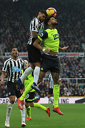 February 23, 2019 - Newcastle, England, United Kingdom - Newcastle United's DeAndre Yedlin contests for the ball with Huddersfield Town's Philip Billing during the Premier League match between Newcastle United and Huddersfield Town at St. James's Park, Newcastle on Saturday 23rd February 2019. (Credit Image: © Mi News/NurPhoto via ZUMA Press)