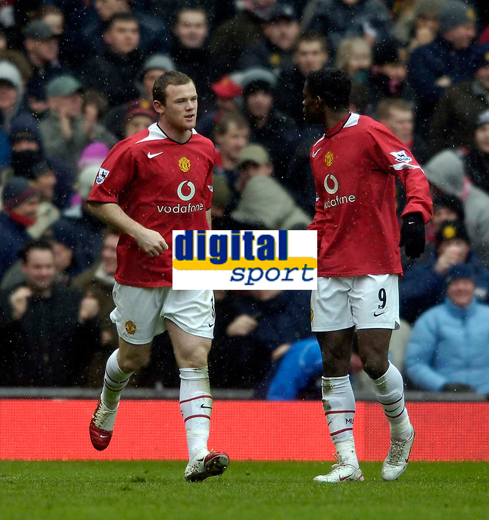 Photo: Jed Wee.<br /> Manchester United v Newcastle United. The Barclays Premiership. 12/03/2006.<br /> <br /> Manchester United's Wayne Rooney (L) celebrates with Louis Saha after his first goal.