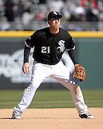 CHICAGO - APRIL 09:  Todd Frazier #21 of the Chicago White Sox fields against the Cleveland Indians on April 9, 2016 at U.S. Cellular Field in Chicago, Illinois.  The White Sox defeated the Indians 7-3.  (Photo by Ron Vesely)  Subject: Todd Frazier