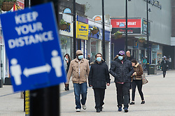 © Licensed to London News Pictures 03/03/2021. <br /> Bromley, UK. People out and about in Bromley High Street in South East London today during a third national coronavirus lockdown. Non-essential shops could open in weeks if the Covid-19 infection rate keeps dropping. Photo credit:Grant Falvey/LNP