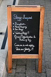 Staff required sign outside hotel, Tenby, Pembrokeshire, South Wales, July 2021