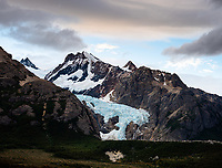 NATIONAL PARK LOS GLACIARES, ARGENTINA - CIRCA FEBRUARY 2019: Moutains and Glacier Piedras Blancas close to El Chalten in National Park los Glaciares in Argentina.