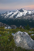 Dawn over Mount Matier (left 2783 m, 9131 ft) and Joffre Peak (2721 m, 8927 ft) seen from ridge of Mount Rohr British Columbia Canada beauty in nature
