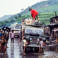 1980 Baruntse Expeditino unloads in Lamosangu, Nepal.