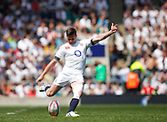 Picture by Andrew Tobin/Tobinators Ltd +44 7710 761829.26/05/2013.Freddie Burns of England kicks to covert his own try during the match between England and the Barbarians at Twickenham Stadium, Twickenham.