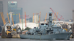 © Licensed to London News Pictures. 16/05/2016. The Type-23 frigate HMS Kent has left London after a short stay to head towards commemorative events to mark the centenary of the Battle of Jutland. She leaves London for Rosyth, a major port and key ship building area of the First World War, where she will take part in events organized by the Scottish Government at South Queensferry. She will then sail for Scapa Flow where she will provide a gun salute. Credit : Rob Powell/LNP
