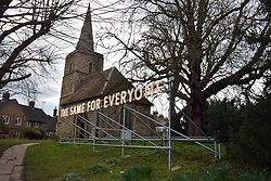 Nathan Coley's 'The Same For Everyone' installation, St Peter's Churchyard, part of Kettle's Yard gallery, Cambridge UK March 2018