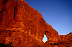 UT: Utah; Arches National Park, view of the Windows section                  .Photo Copyright: Lee Foster, lee@fostertravel.com, www.fostertravel.com, (510) 549-2202.Image: utarch219