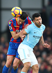 31 December 2017 -  Premier League - Crystal Palace v Manchester City - Martin Kelly of Crystal Palace in action with Sergio Aguero of Manchester City - Photo: Marc Atkins/Offside