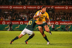 Israel Folau of Australia is tackled by Morne Steyn during the Castle Lager Rugby Championship test match between South Africa and Australia held at Loftus Versfeld stadium in Pretoria on the 1st October 2016<br /> <br /> Photo by: Dominic Barnardt/ RealTime Images