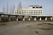 Chernobyl, Exclusion Zone, Ukraine. Hotel. Pripyat Town built 15 years before the Chernobyl reactor fire. The whole town was evacuated shortly after. The  Chernobyl Reactor, towns, plant and environs just before the 20th anniversary of the nuclear disaster.