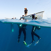Split photo, partly above water and partly below water, of Scuba divers waiting to be picked up by the dories on Swains Reef on the southern end of Australia's Great Barrier Reef.