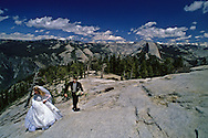 Anders and Nancy Hedqvist hike to the summit of Sentinel Dome for their wedding ceremony.  Photographs from the project documenting the 100th anniversary of Yosemite National Park in 1990.