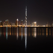 Dubai skyline and the Burj Khalifa.