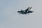 A Boeing EA-18G Growler with the American Navy in flies low over Chuo Rinkan in Kanagawa, Japan. Tuesday May 31st 2016. People in this area live under the flight path of Naval Air Facility, Atsugi airbase and have to get used to fighter jets and other aircraft of the US Navy and JSDF buzzing their apartment buildings.